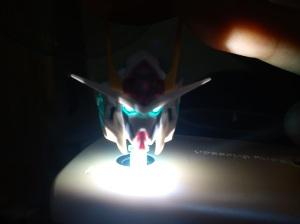 Tried to see the LED effect, using flash light from a cell phone.