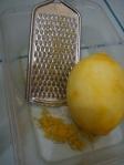Lemon, zested. You gotta love the smell.